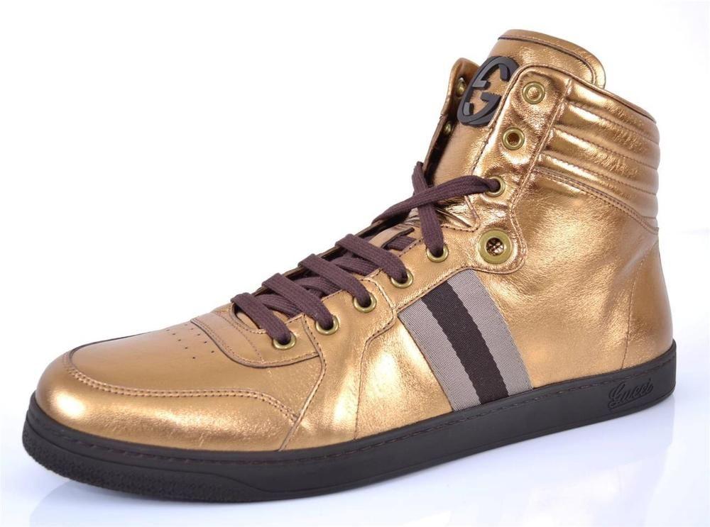 ed1234eccd262 NEW GUCCI 325380 METALLIC BRONZE LTD.ED. HIGH TOP SNEAKERS SHOES 12.5 13.5   Gucci  AthleticSneakers