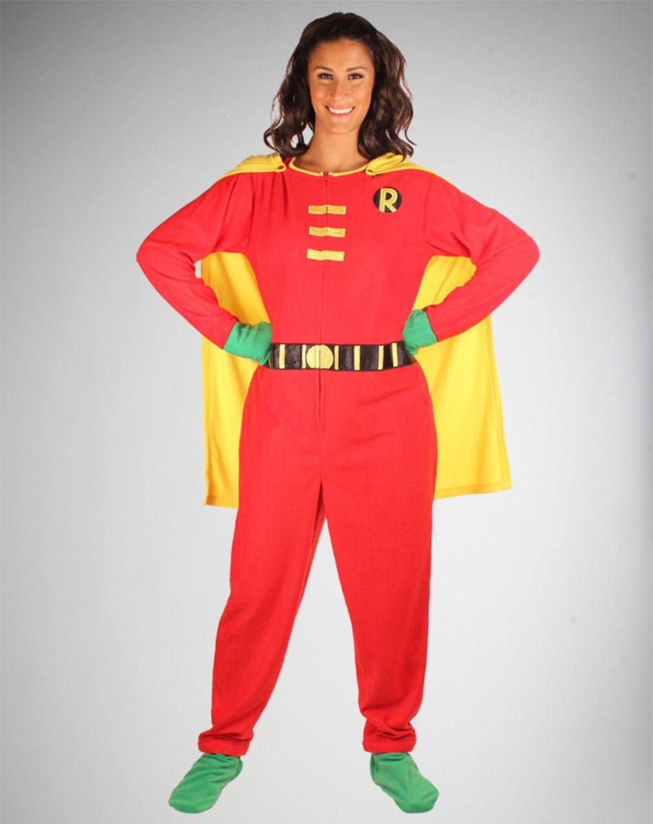 a10beff2cf42 Batman Robin Caped Footed Hooded Adult Pajamas
