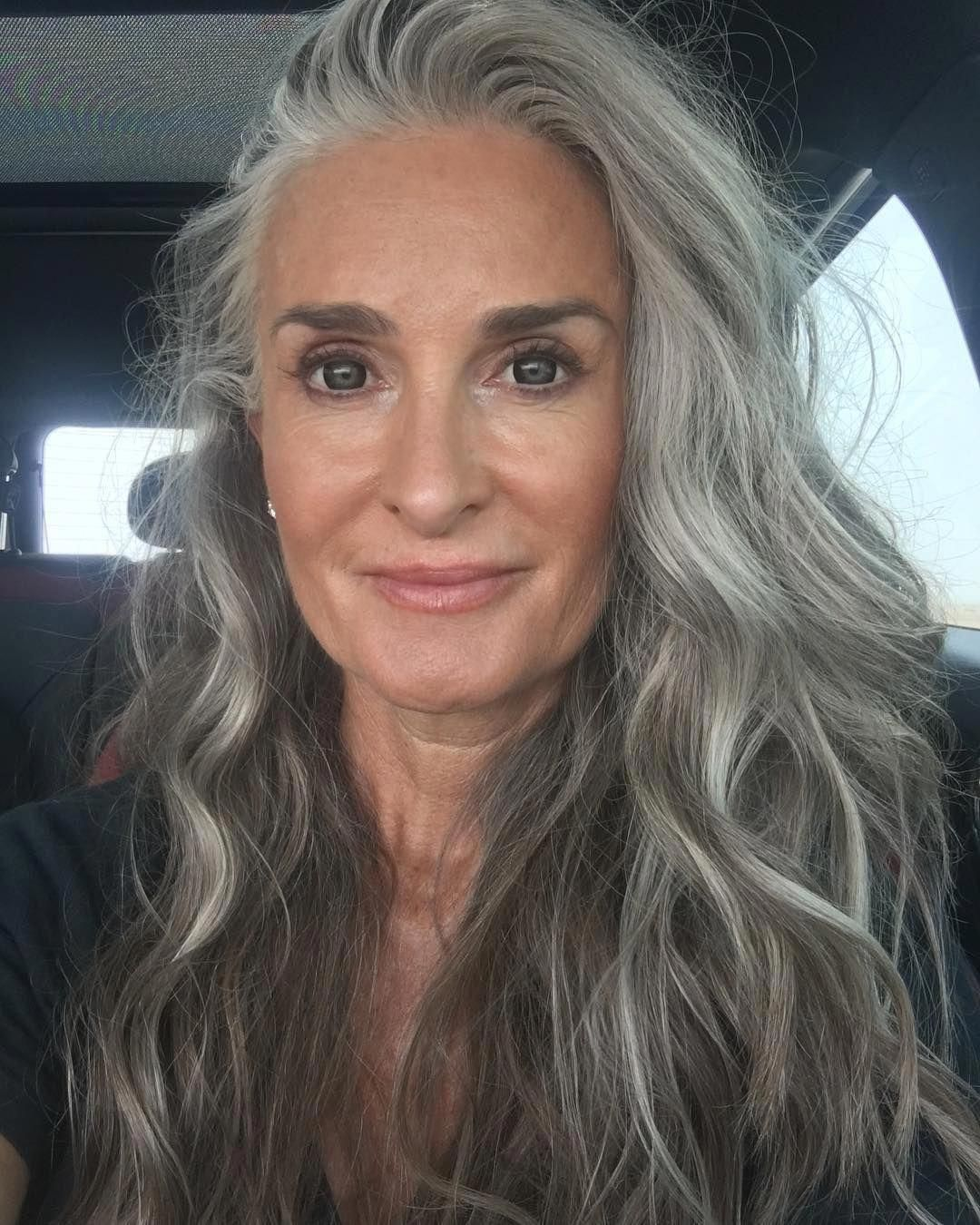 #grayhaircolors in 2019 | Grey hair over 50, Long gray hair, Gray hair growing out