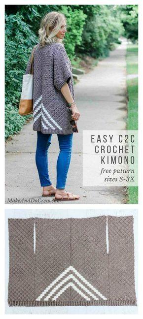 Easy C2C Kimono Sweater Free Crochet Pattern #sweatercrochetpattern