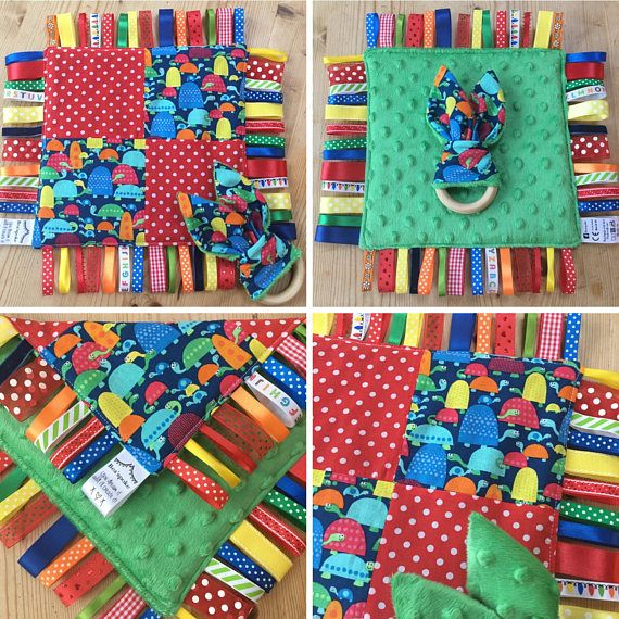 Baby Turtles Ribbon Taggie Taggy Blanket and Wooden Teether Ring Turtle  Tortoise Red Blue Green Bright Baby Gift Made in UK 58536a84a