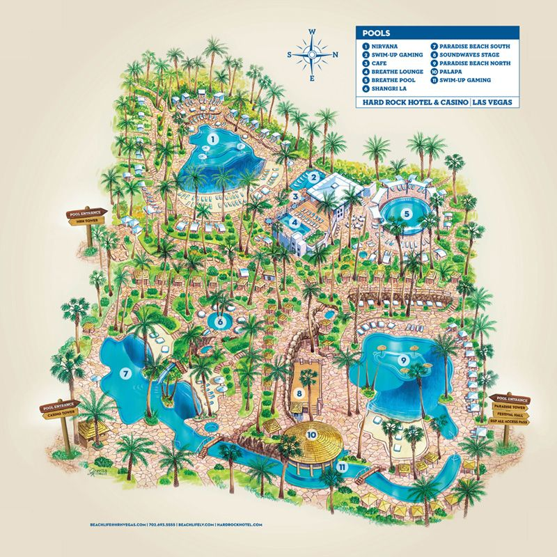 Map of Rehab Pool at the Hard Rock Hotel Casino Las Vegas