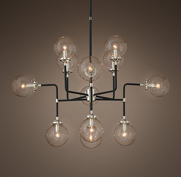 Bistro Globe Clear Glass 12 Light Chandelier Clear Glass Lamps