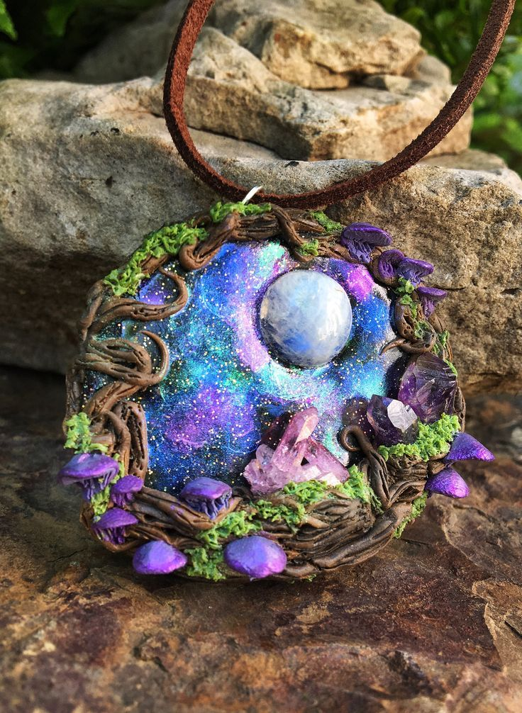 RESERVED For Andrea •Rose Aura & Amethyst Enchanted Night Sky Wood Pendant • Magic Fairy Wicca Pagan Galaxy Mushroom Crystal Necklace Polyme -