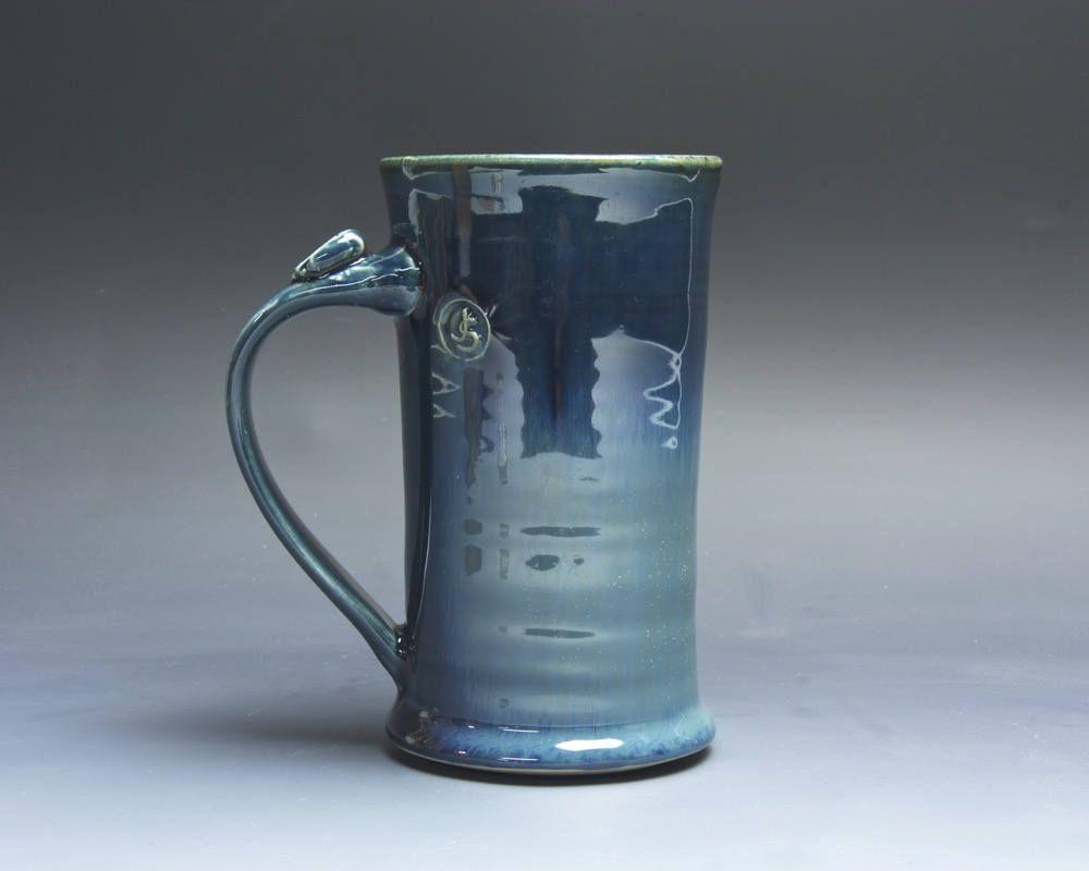 Pottery coffee mug, ceramic mug, stoneware tea cup deep blue 12 oz 4030 by BlueParrotPots on Etsy