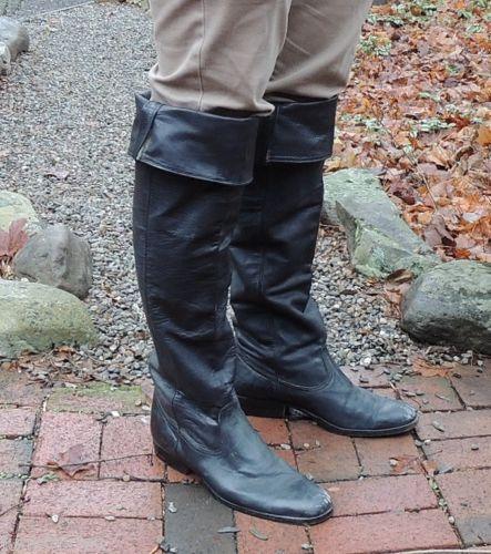 3a44ddea452 Vtg-Mens-Cavalry-26-034-Tall-Black-Leather-Knee-Boots-sz-11-5-Pirate-Santa