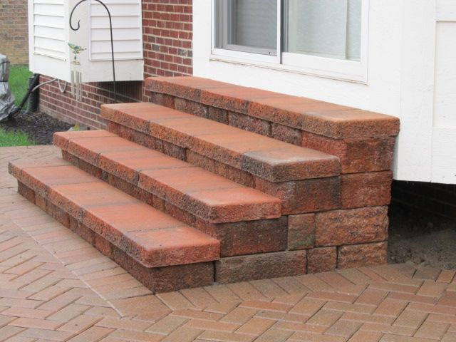 Diy paver stairs google search for the yard for Brick steps design ideas