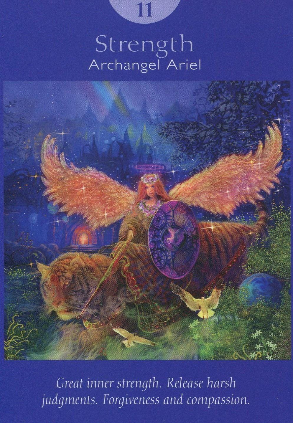 XI. Strength Archangel Ariel Angel Tarot Cards by