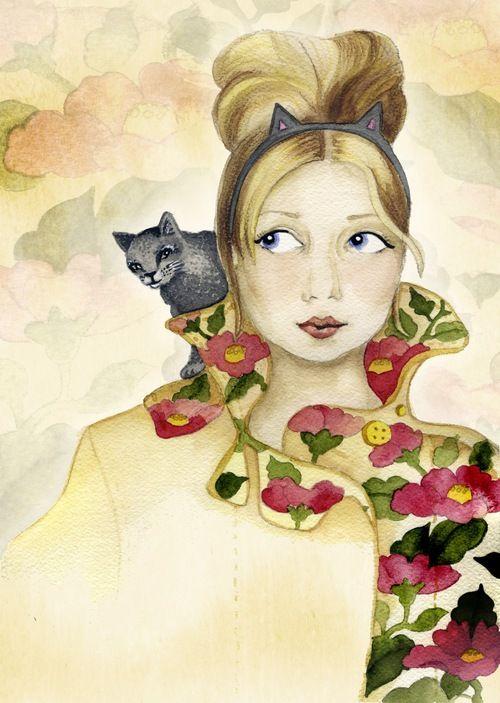 Cat Woman With Grey Kitten / Elli Maanpää / 2013