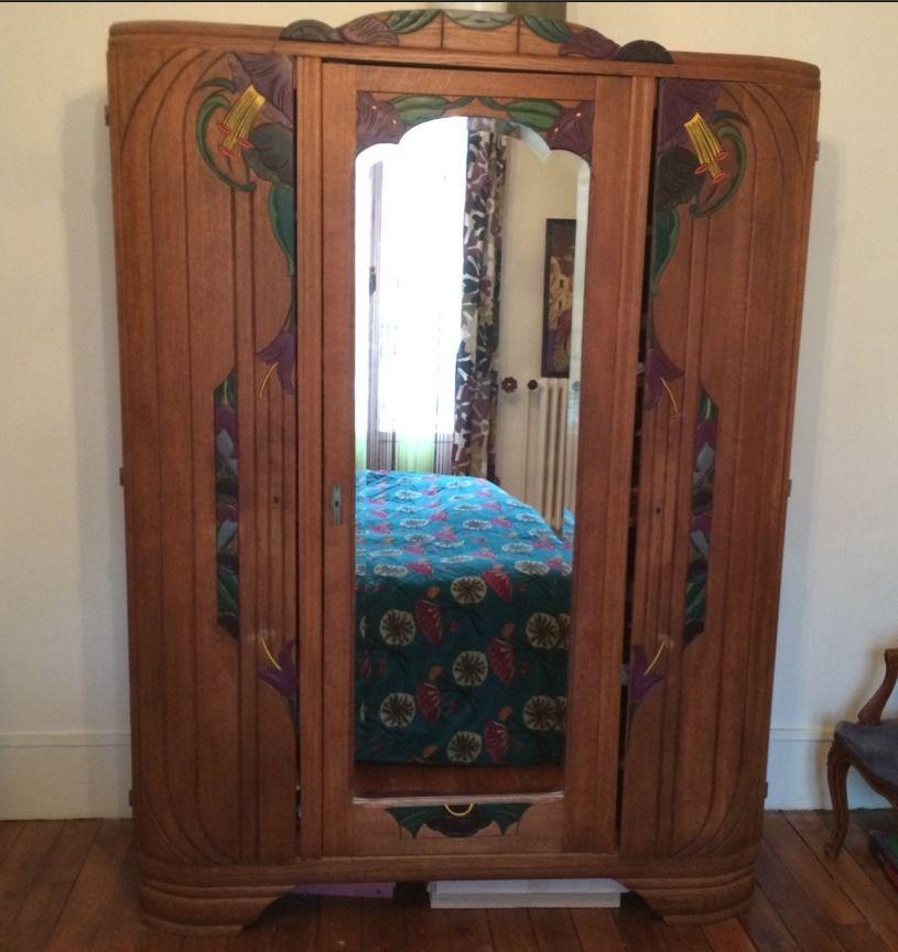 Armoire Ancienne 3 Portes Avec Miroir Moulures Peintes