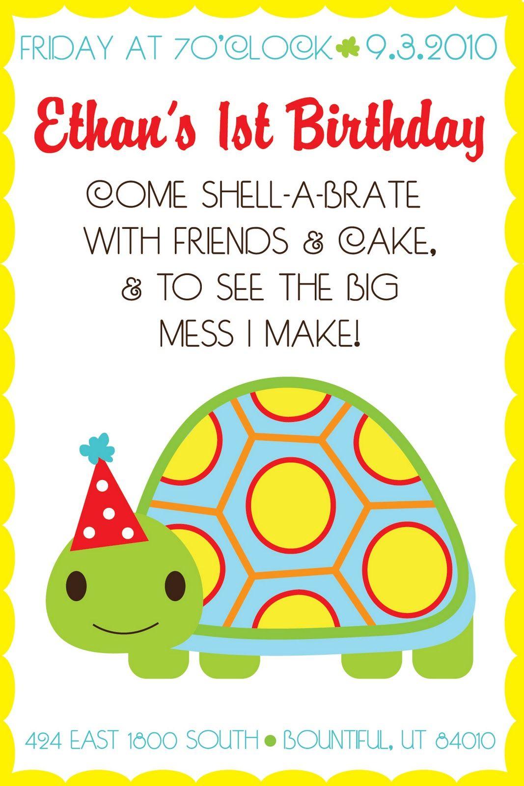 HiLLmark Design . turtle themed 1st birthday party invitation   Kids ...