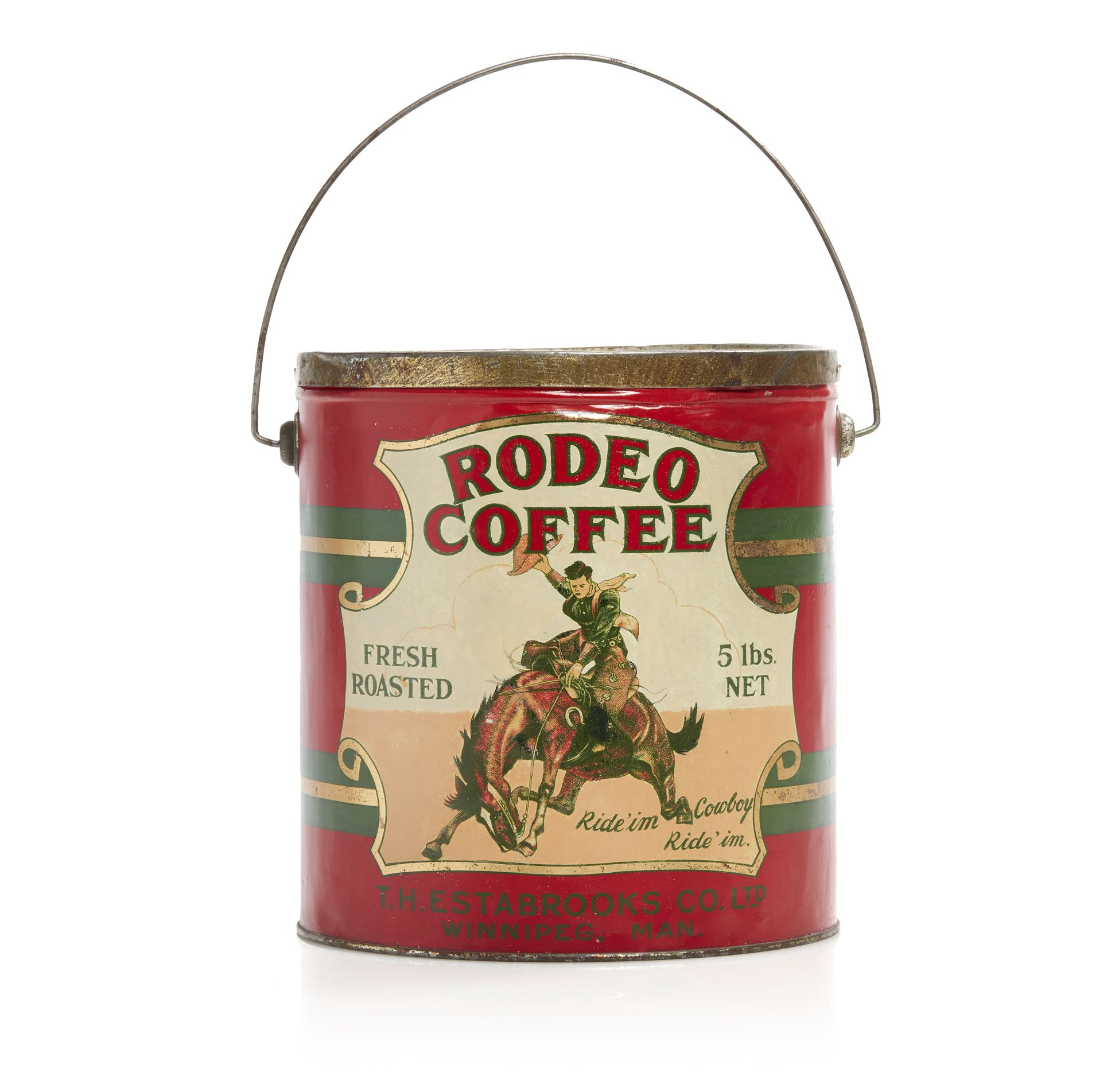 "Large Rodeo Coffee ""Fresh Roasted"" 5lb coffee bean tin can"