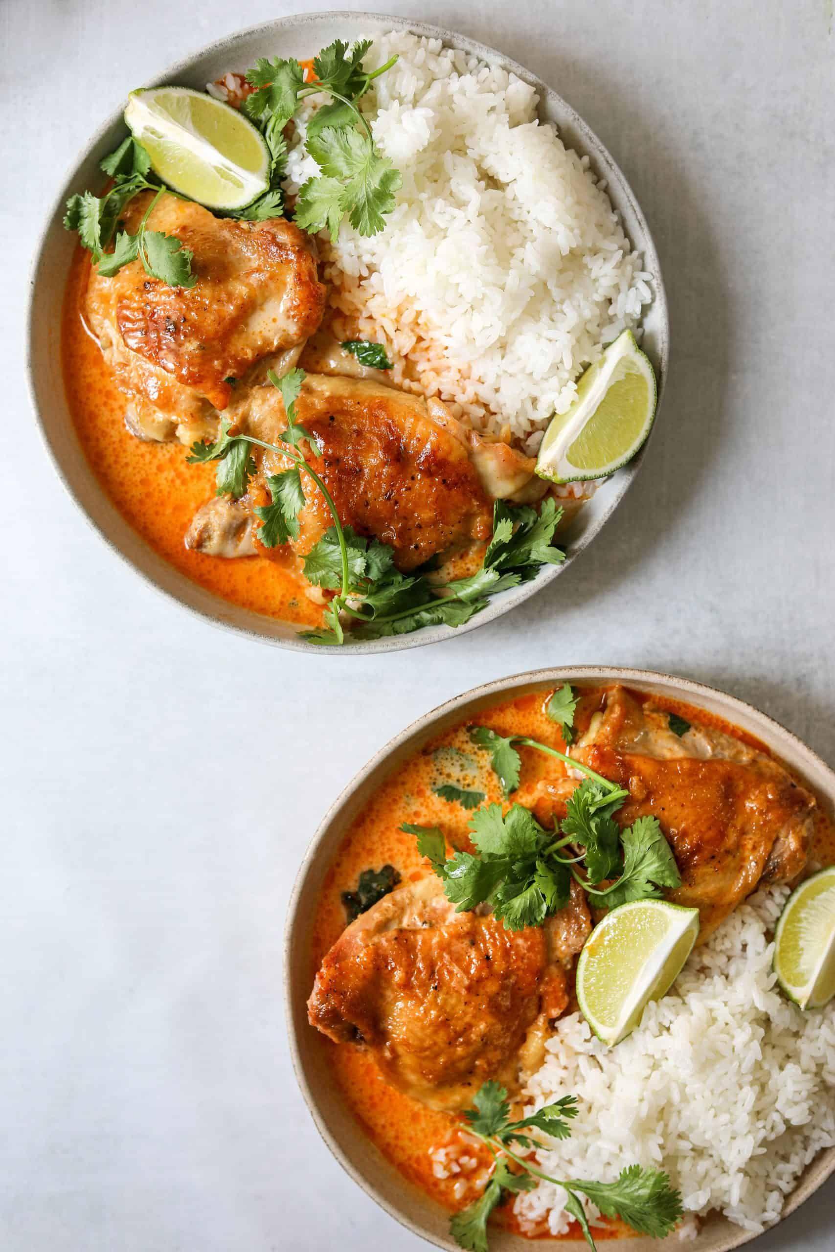Coconut Milk Braised Chicken With Harissa And Lime Craving California Recipe Braised Chicken Chicken Recipes Coconut Milk Recipes