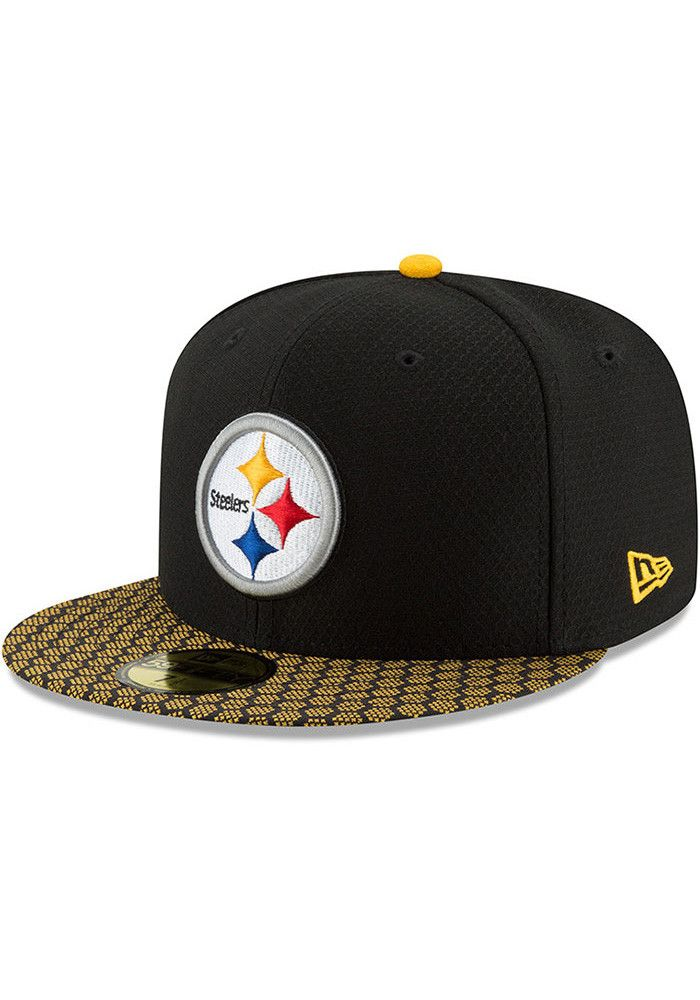b0d60fc784a New Era Pittsburgh Steelers Mens Black 2017 Official Sideline Fitted Hat -  5903810