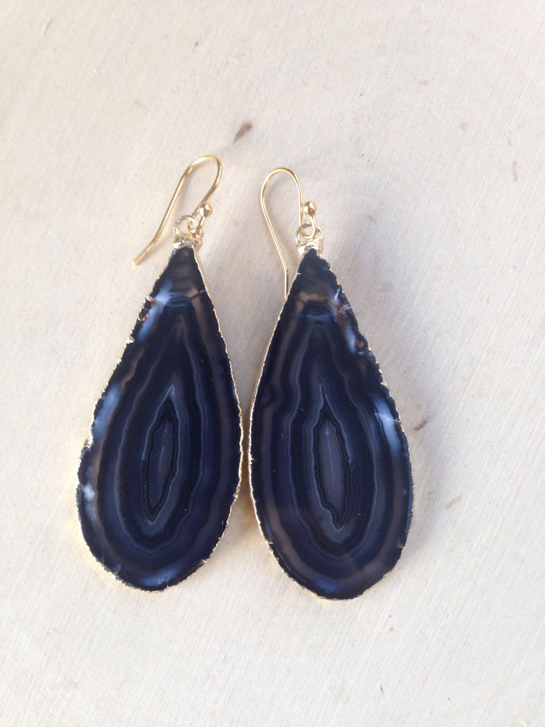 Agate Earrings Gold Dipped Slice Raw Geode Gemstone Natural Black By Maliecreations On