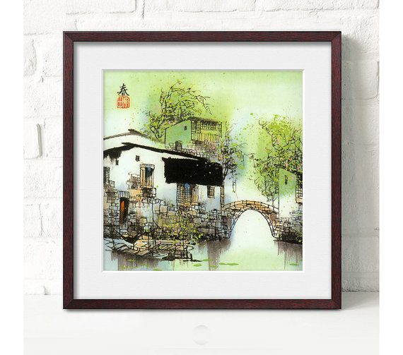 beautiful landscape art printchinese artink by art68 on Etsy