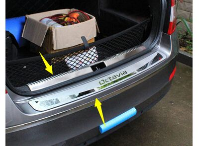 2 Pcs Fit For 2013 2014 2017 For Skoda Octavia A7 Chrome Rear Boot Door Trunk Cover Trim Tailgate Rear Bumper Protector Skoda Octavia Skoda