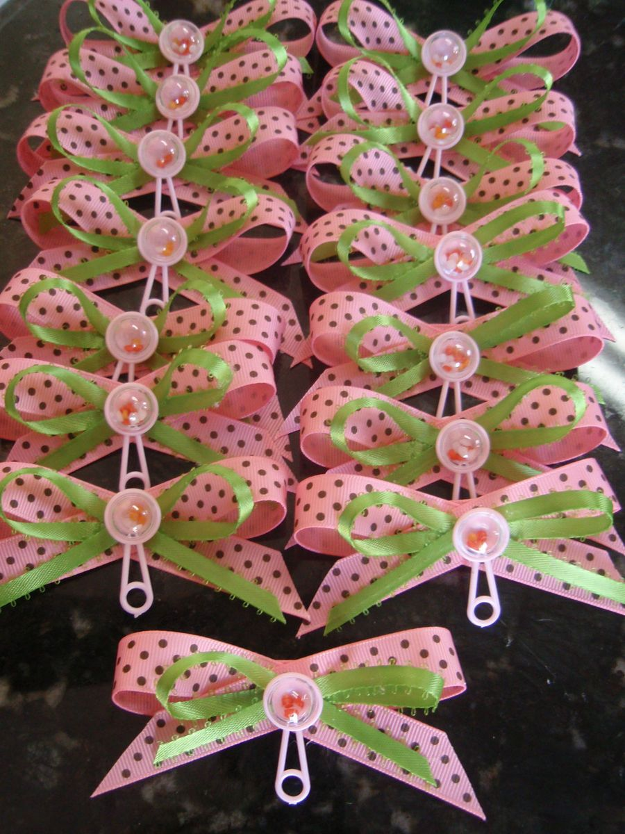 Baby Shower Corsage Mini Pins Capias 50pcs Pink Lime Green Brown