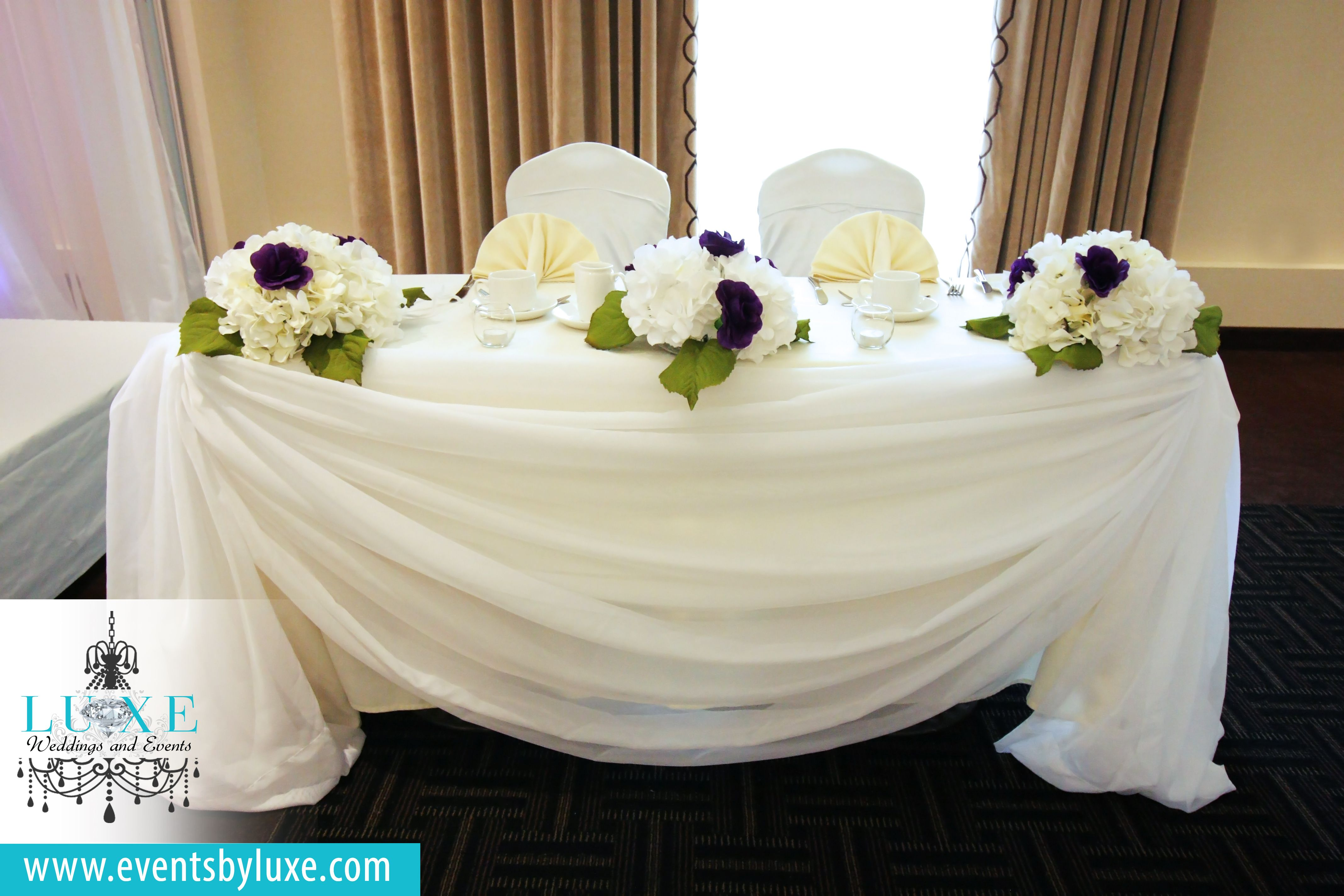 Ivory head table decor, ivory and purple head table decor, ivory ...