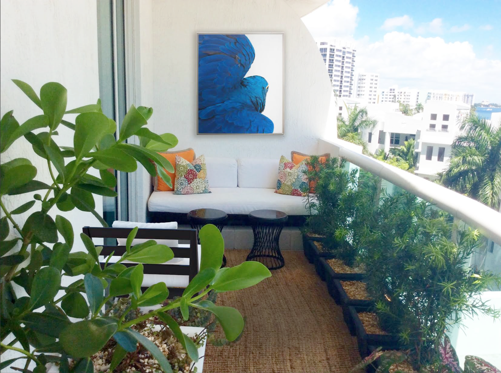 We designed a relaxing seating area for this long narrow balcony ...