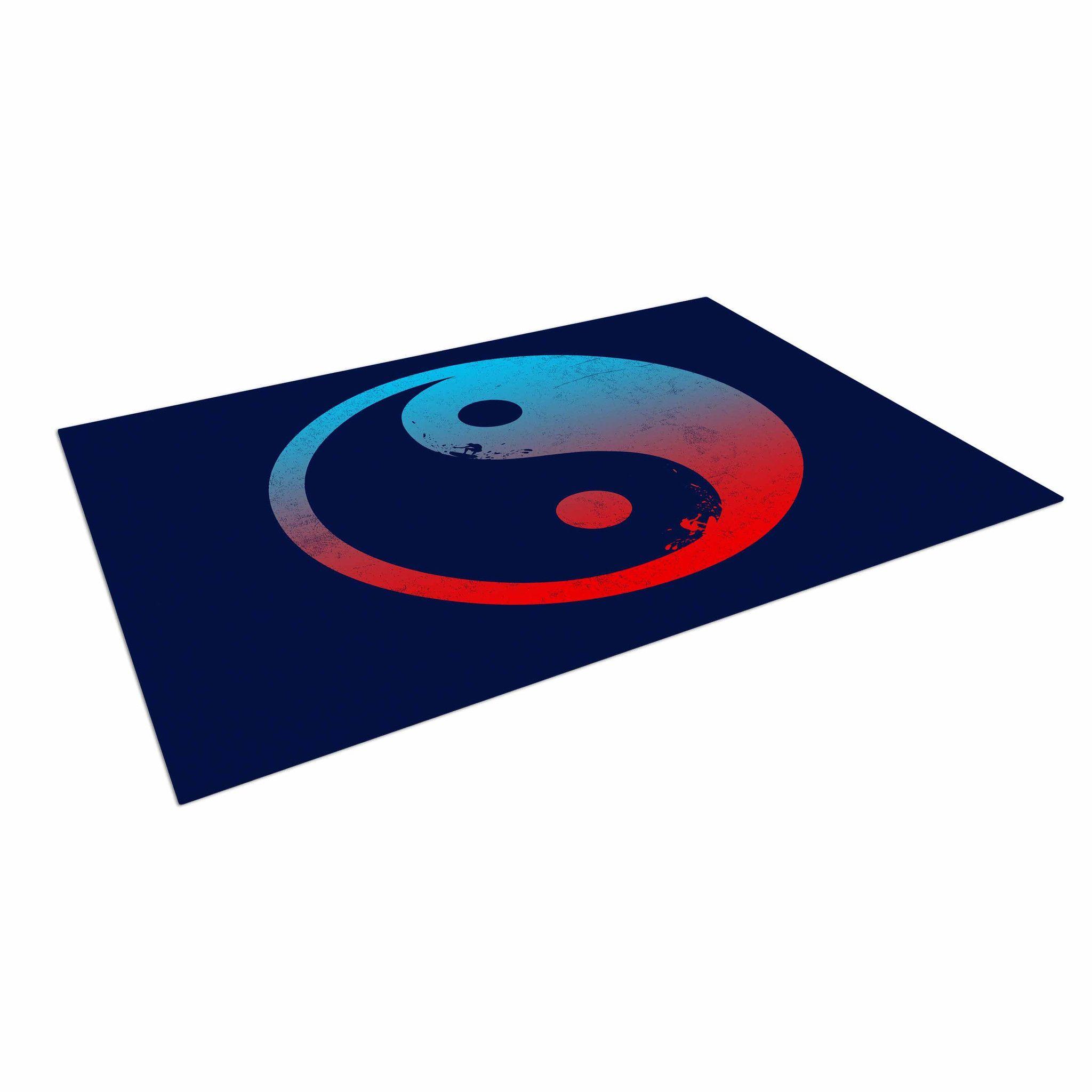 "Federic Levy-Hadida ""Ying Yang Surfers"" Red Blue Indoor / Outdoor Floor Mat"