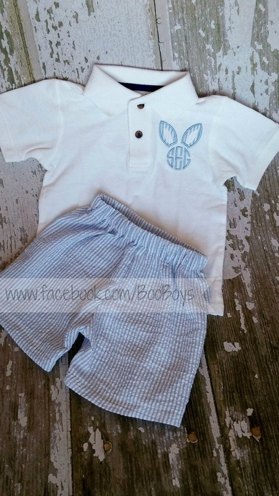 5c006302e Easter outfit! Perfect for your sweet boy! Handmade Seersucker Shorts and  Personalized Monogrammed Bunny Ears on a Polo-Style Top! on Etsy, $38.00