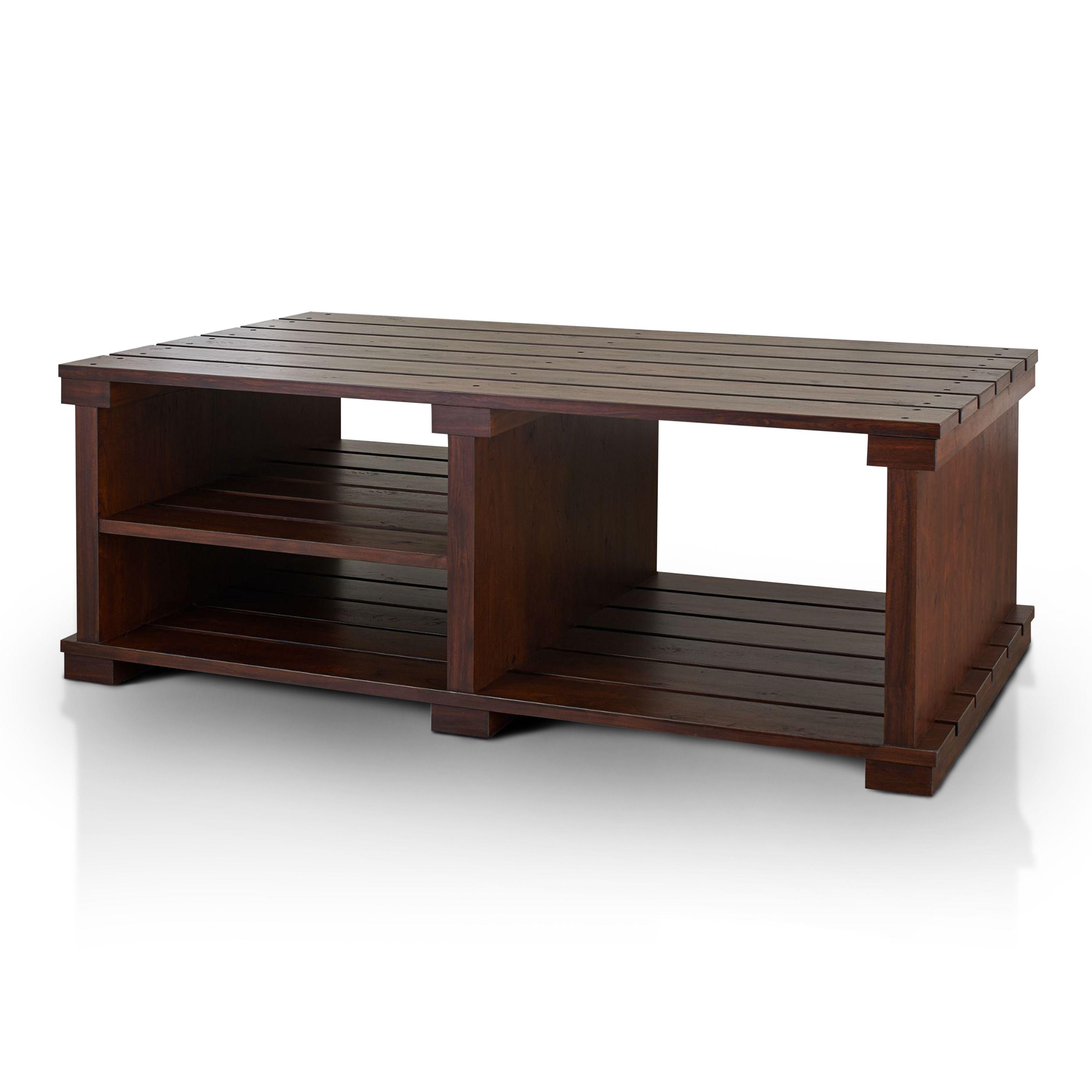 Furniture of america brenetta 3 shelf vintage walnut coffee table vintage walnut brown