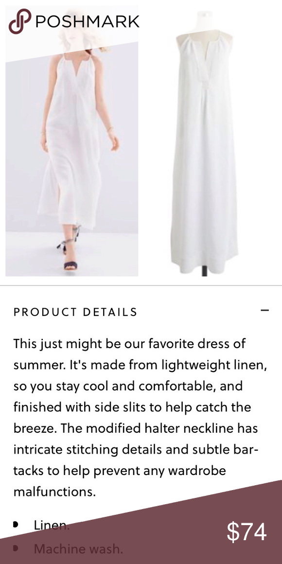c28b570bf5 J Crew white linen halter top maxi dress Simple and sophisticated! Gorgeous  maxi in linen with cotton lining. Excellent condition! J. Crew Dresses Maxi