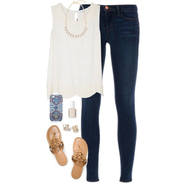 scalloped by classically-preppy on Polyvore featuring polyvore, fashion, style, Joie, J Brand, Tory Burch, J.Crew, Essie and Kate Spade