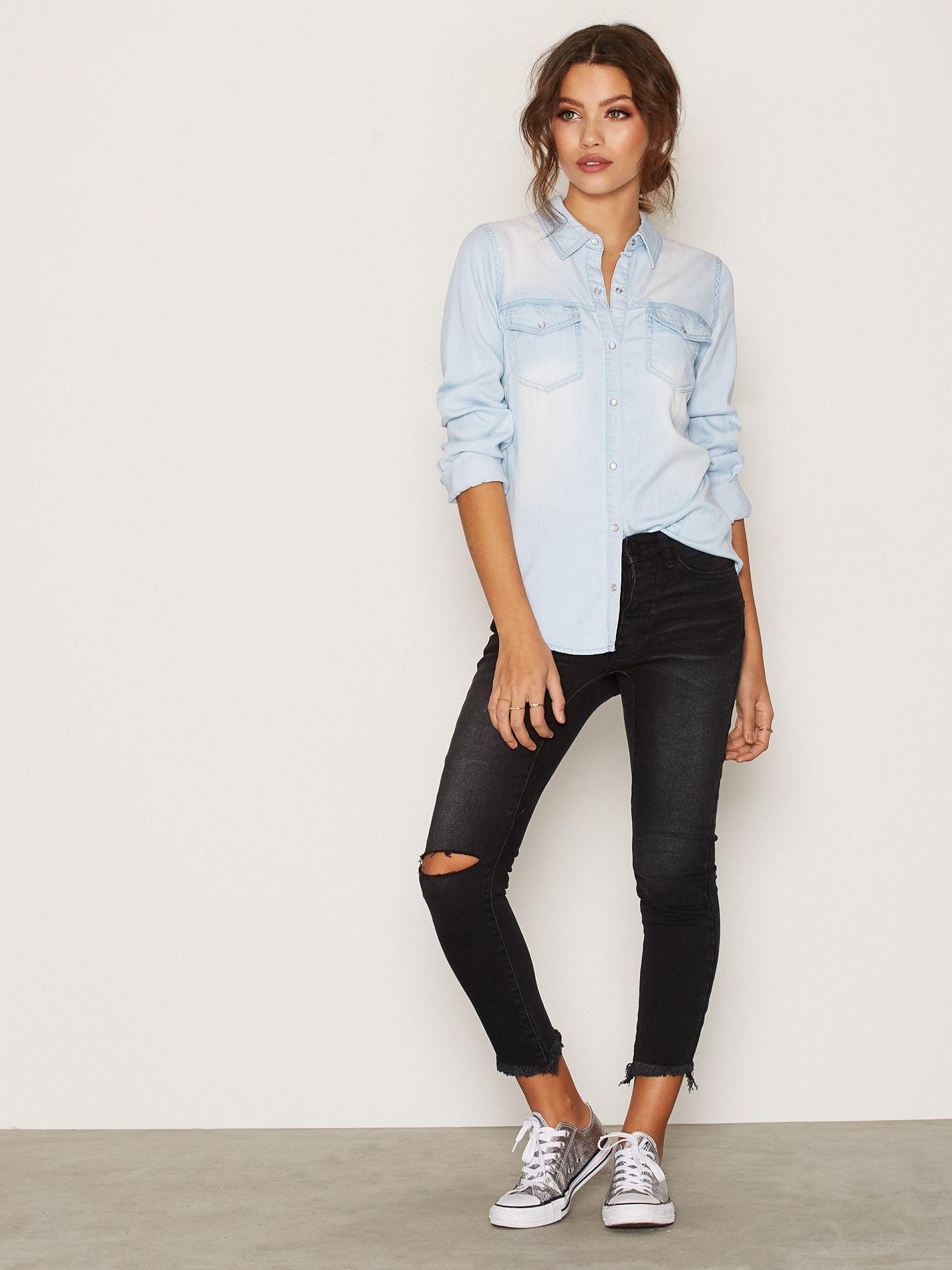 95343e17fb1 Shoppa Vibista Denim Shirt - Noos - Online Hos Nelly.com