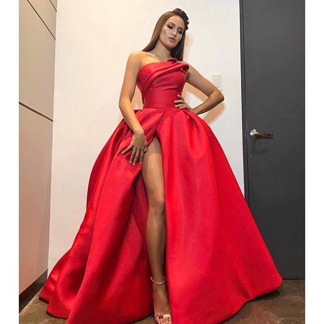 Formal Evening Dresses Satin Bridesmaids Ball Gown Slit Party Prom Gowns Custom