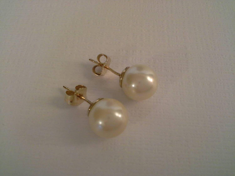 14k Pearl Studs, 8mm Pearl Earrings, 8mm Pearl Studs, 14k Pearl Earrings,  Classic Pearl Studs, Off White Pearls, 8mm Studs, Wedding Pearl