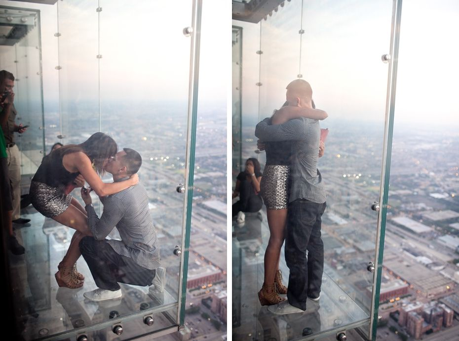 Chicago Propose At The Willis Tower Skydeck With The Most