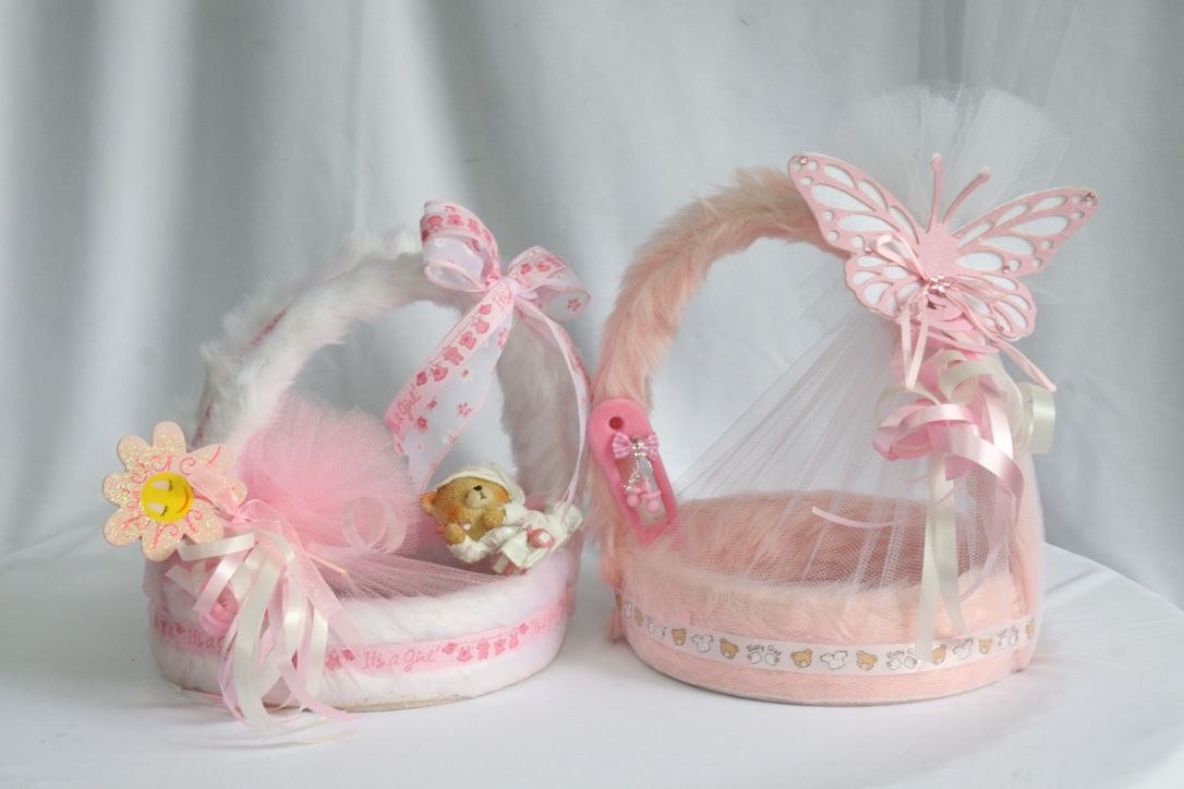 Cute Pink Baskets For Baby Girl Birth Announcements And Birthday