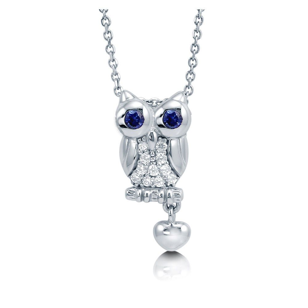 BERRICLE Rhodium Plated Sterling Silver Cubic Zirconia CZ Owl Fashion Pendant Necklace Halloween Jewelry