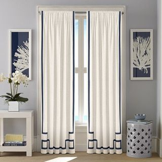 Nautica Ribbon Trim Cotton Twill Curtain Panel Set  52 x