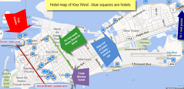 hotels in key west florida map