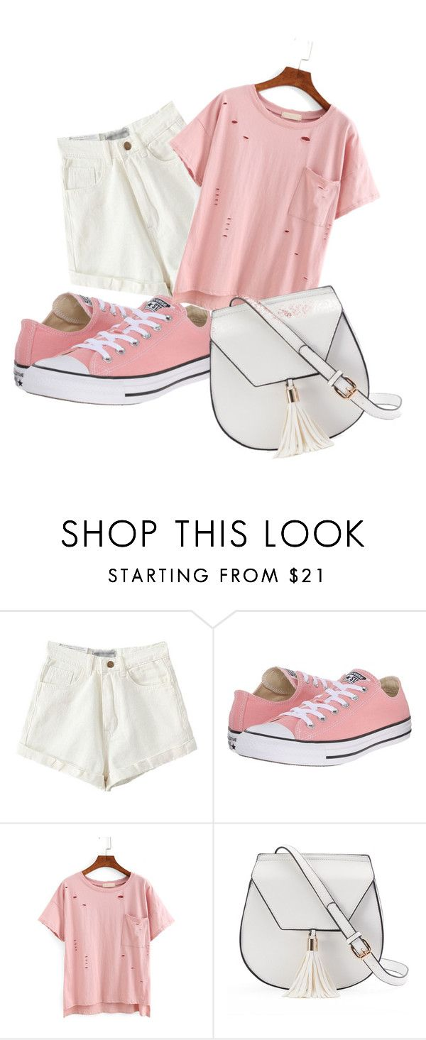 """""""fight like a girl"""" by neverstopchoosingyou ❤ liked on Polyvore featuring Converse, Yoki and IWearPinkFor"""
