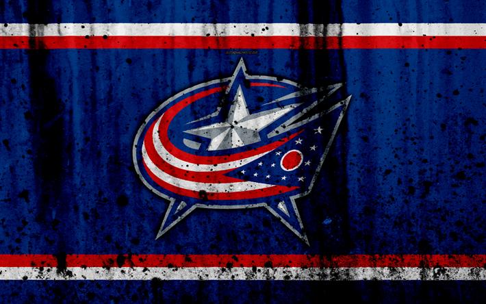 Download wallpapers 4k, Columbus Blue Jackets, grunge, NHL, hockey, art, Eastern Conference, USA, logo, stone texture, Metropolitan Division
