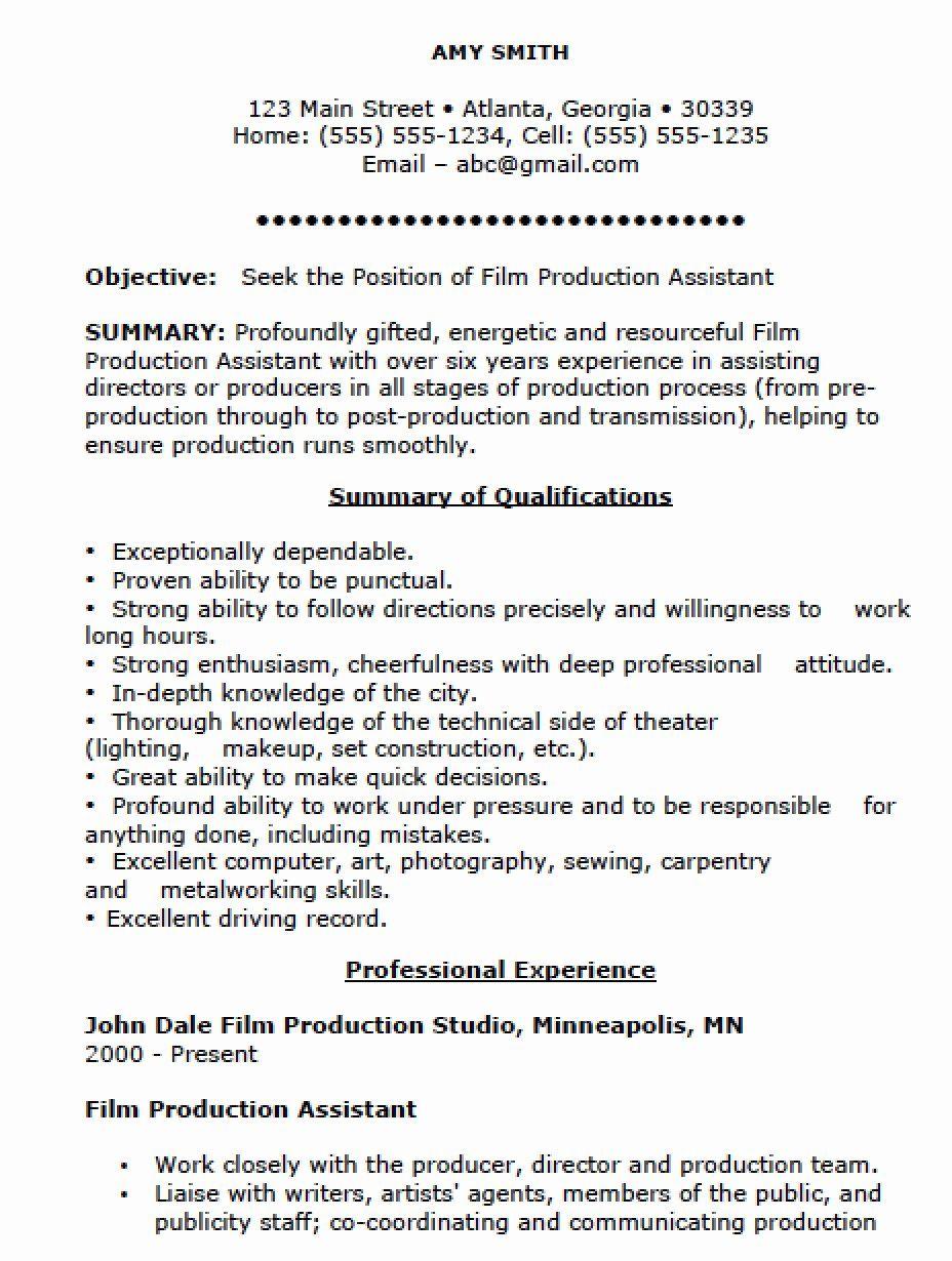 23 Production Assistant Job Description Resume In 2020 Resume