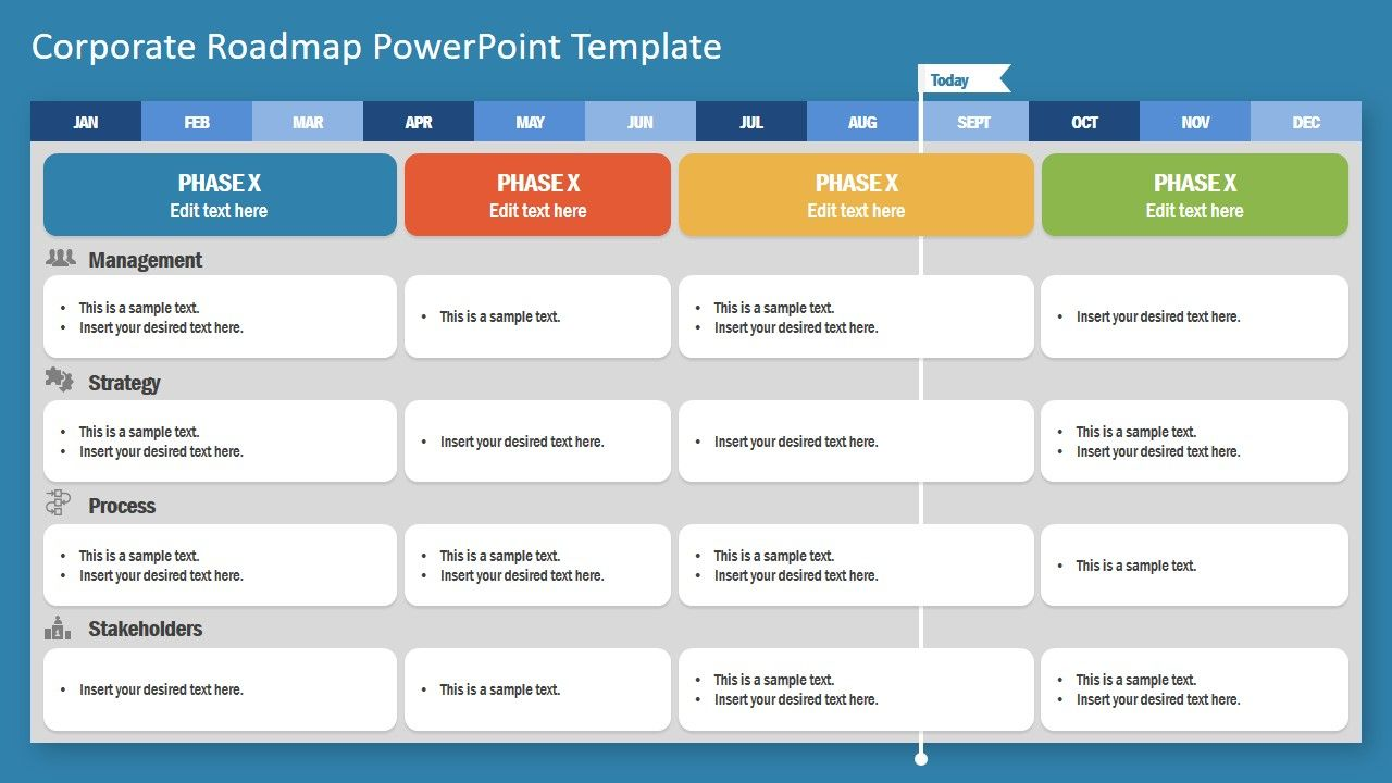 Corporate Roadmap Powerpoint Template within Weekly