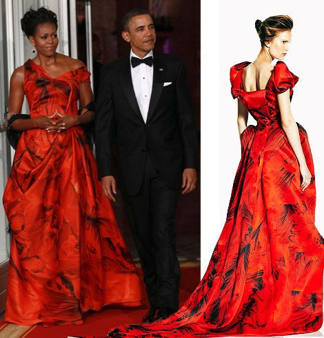 Michelle Obama Alexander McQueen Resort 2011 red dress | Michelle ...