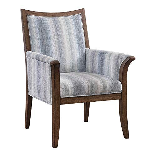 Super Coastal Blue Stripe Accent Arm Chair Wood Frame Beach House Ocoug Best Dining Table And Chair Ideas Images Ocougorg