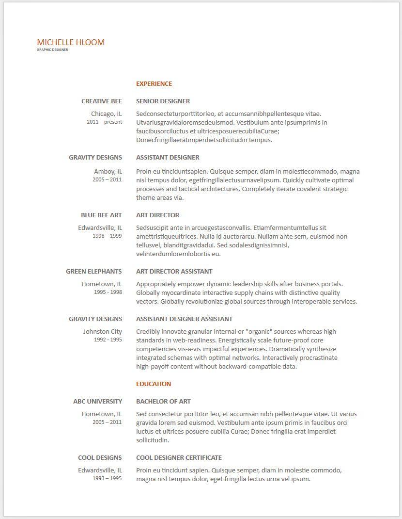 12 Free Minimalist Professional Microsoft Docx And Google Docs CV ...