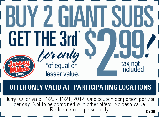 image regarding Jersey Mikes Printable Coupons referred to as Jersey Mikes Subs: $2.99 Sub Printable Coupon Help save some