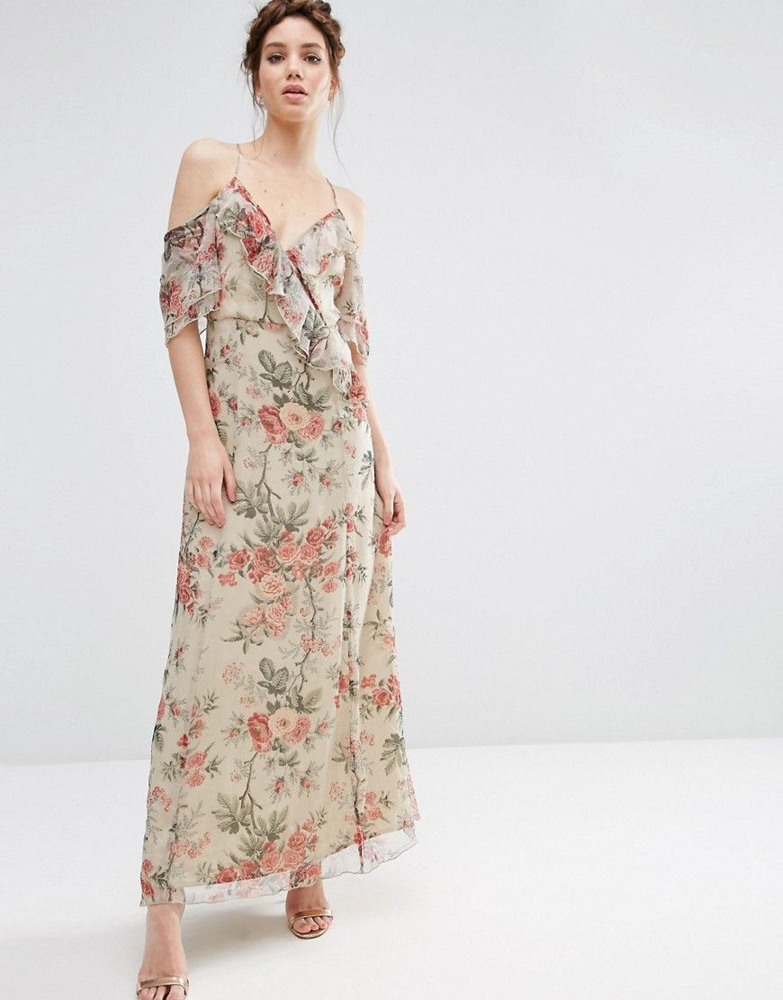 c6f4593f9c9 ASOS Ruffle Cold Shoulder Maxi Dress in Vintage Floral Print