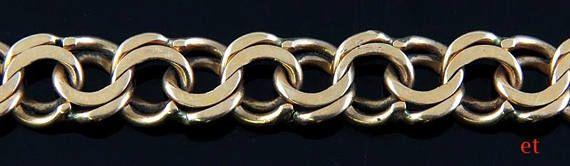 Great Quality Swedish Double Link 18K Yellow Gold Charm Bracelet