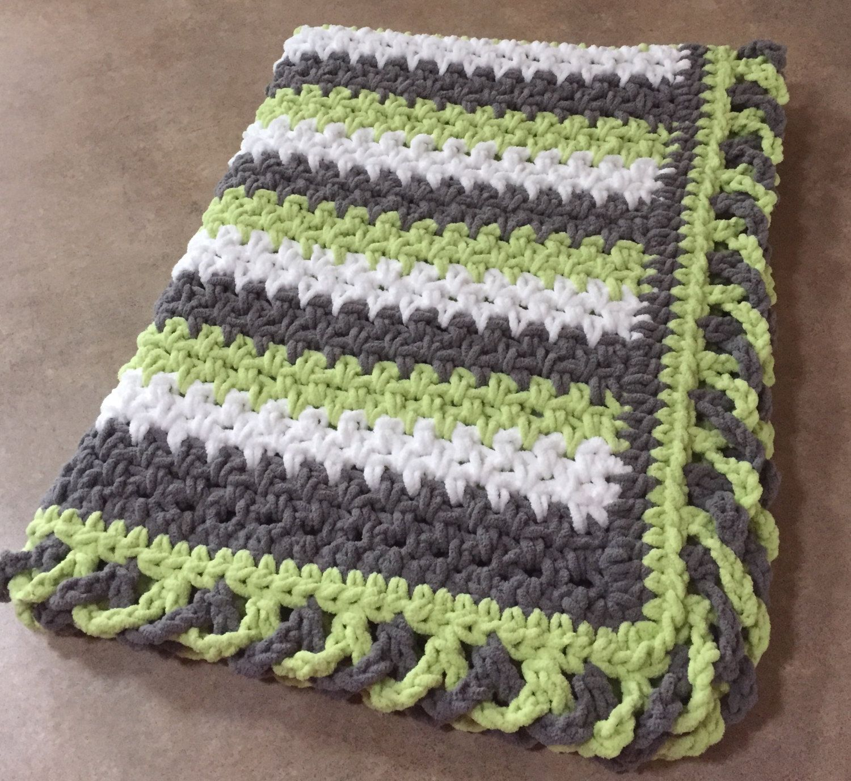 Striped Baby Blanket Pattern W Crisscross Edge Crochet Blanket