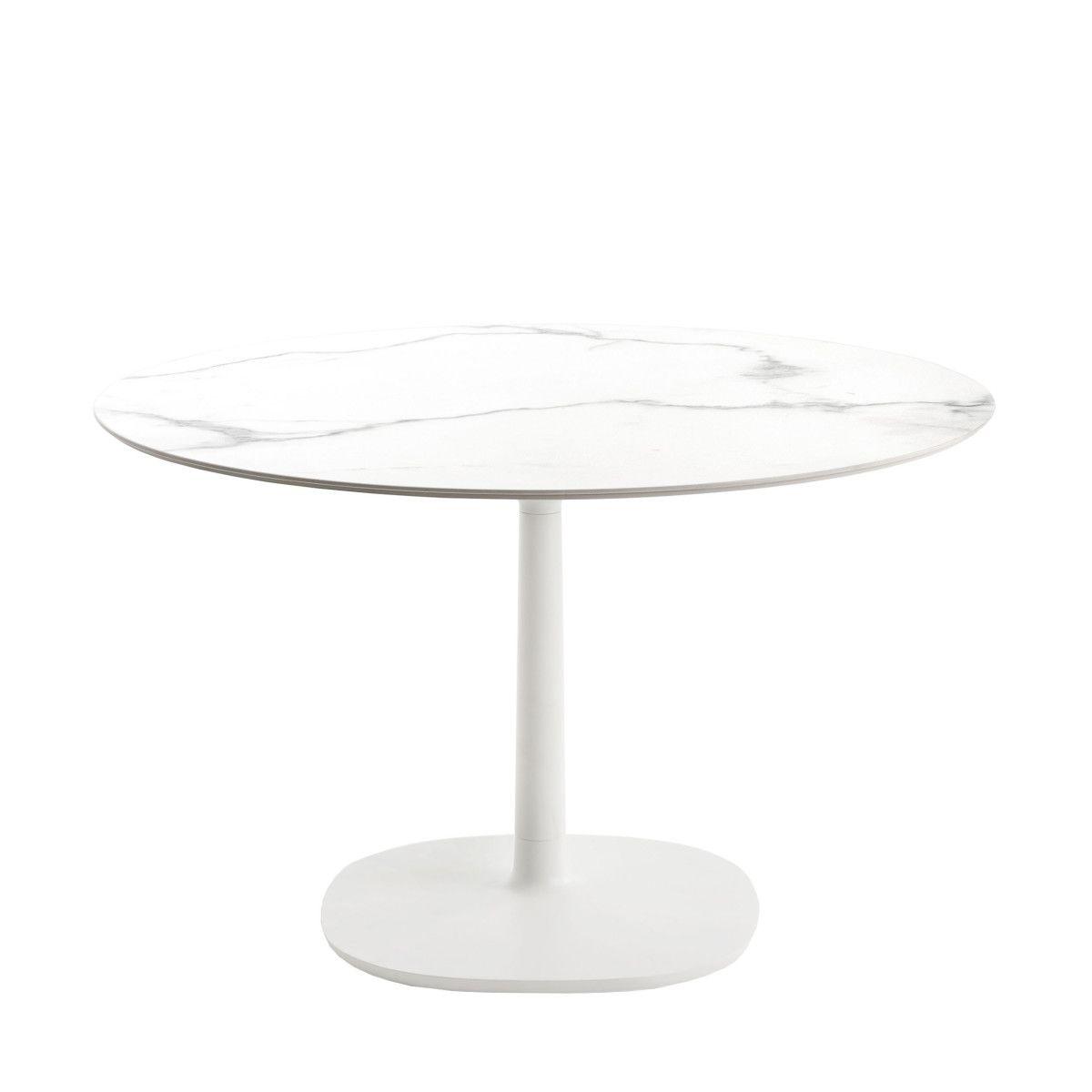 Multiplo Keramik Tisch rund mit Rundfu&szlig &oslash118 wei&szlig ...