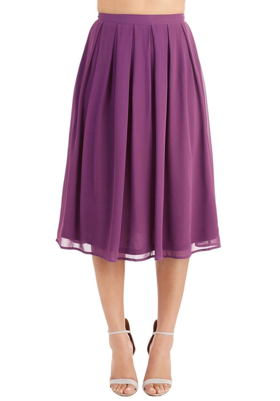 Glance My Way Skirt - Purple, Solid, Pleats, Work, Vintage Inspired, High Waist, Midi, Spring, Summer, Woven, Good, Purple, Long, 40s, 50s